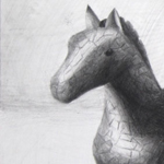 Glass Horse Pencil Observation Drawing