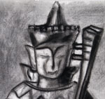 Buddha State Observation Drawing in Charcoal