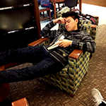 Michael Sleeping in the Library
