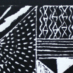 Black and White Linoleum print: 12 mark making studies in 12 shapes