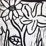 Lino Flower Black and White Print