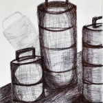 Tiffin container in ball point pen