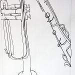 Musical Instrument Contour Drawing