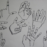 Blind contour hand drawing