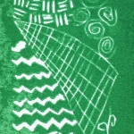 linoleum block print (Mark making Study printed in green ink)