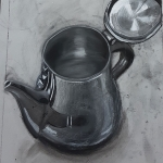 First breath piece Teapot Charcoal Drawing